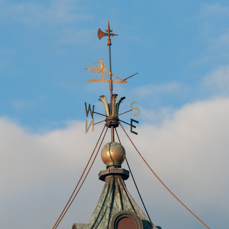 Compass on top of clock tower